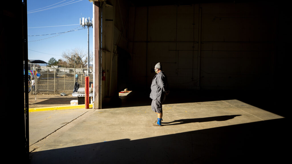 Bob Dorshimer, CEO of Mile High Behavioral Healthcare, stands inside a warehouse that will become his nonprofit's new emergency homelessness shelter in Aurora. Nov. 11, 2020.