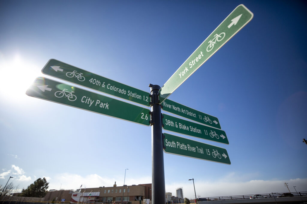 Bike directions abound on the 39th Avenue Greenway, which has just officially opened to the public. Nov. 14, 2020.