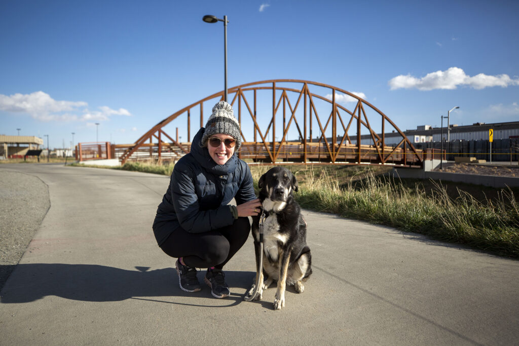 Suzanna Pierrepont and Ranger, out for a walk on the new 39th Avenue Greenway. Nov. 14, 2020.