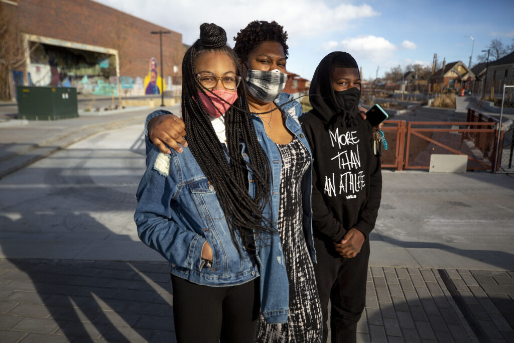 Jamarian Evans-Daniels and her kids, Jaia and Devaughn, visited the the 39th Avenue Greenway soon after it officially opened to the public. Nov. 14, 2020.