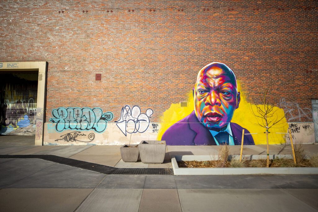 "A mural of John Lewis by Thomas ""Detour"" Evans"" along the 39th Avenue Greenway's western edge at Franklin Street. Nov. 14, 2020."