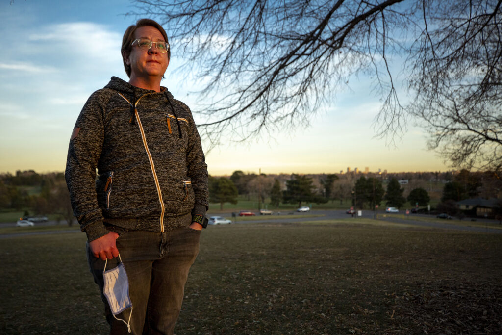 Marvyn Allen, health equity and training director with One Colorado, stands in Denver's Inspiration Point Park. Nov. 18, 2020