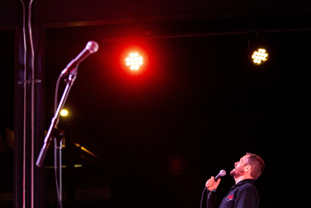 Ben Roy performs during Number Thirty Eight's first-ever comedy showcase. Five Points, Nov. 28, 2020.