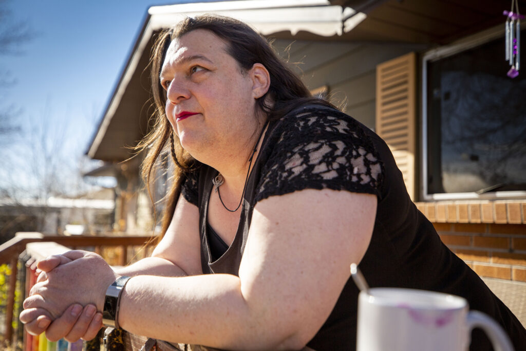 Sable Schultz, manager of transgender services for The Center on Colfax, at her home in Westminster. Nov. 19, 2020.