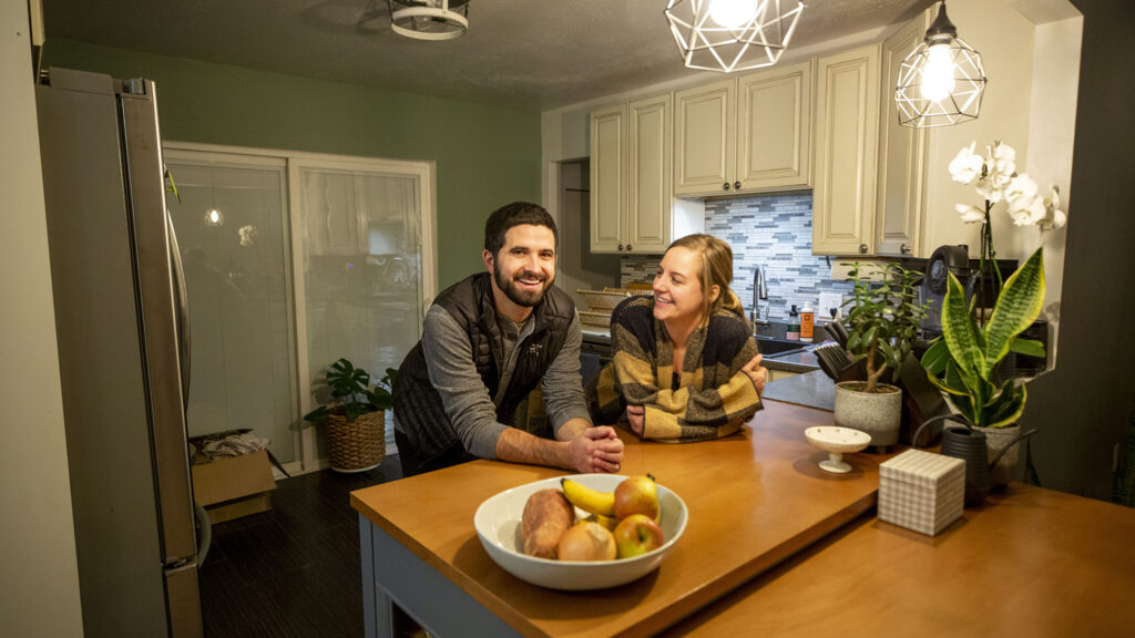 Kimberly and Jonathan Strat at their new home in Westminster. Nov. 20, 2020.