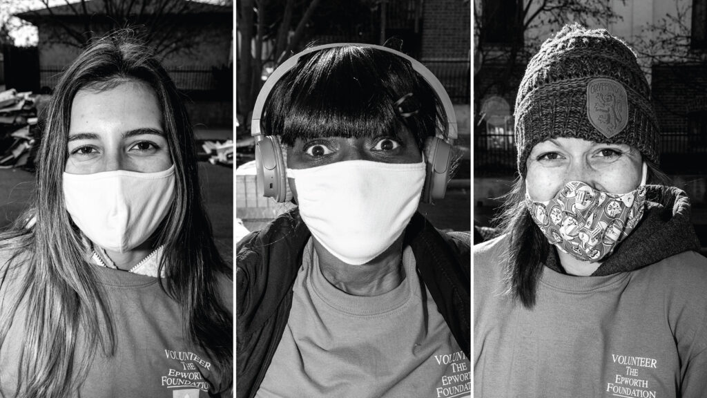 Mia Lobato, Venus Nelson and Bri Zimmer volunteered at the annual Denver Feed a Family event on Bruce Randolph Avenue in Cole. Nov. 21, 2020.