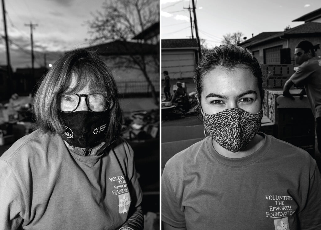 Mary Salsich and Natalie Valentin. The annual Denver Feed a Family event on Bruce Randolph Avenue in Cole. Nov. 21, 2020.