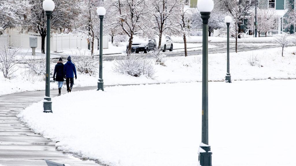 Snow blankets Denver's Central Park neighborhood. Nov, 24, 2020.
