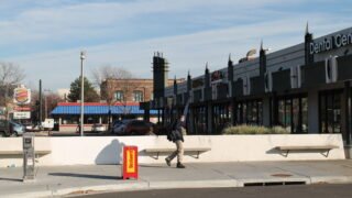 A strip mall and a Burger King on West Colfax Avenue across the street from the Auraria RTD station on November 23, 2020.