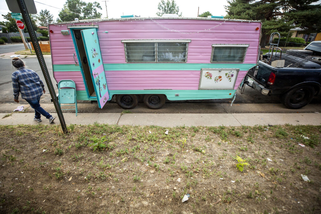 Tila Lozoya's camper, affectionately named The Pioneer Woman, parked off the eastern end of Bruce Randolph Avenue. Sept. 11, 2020.