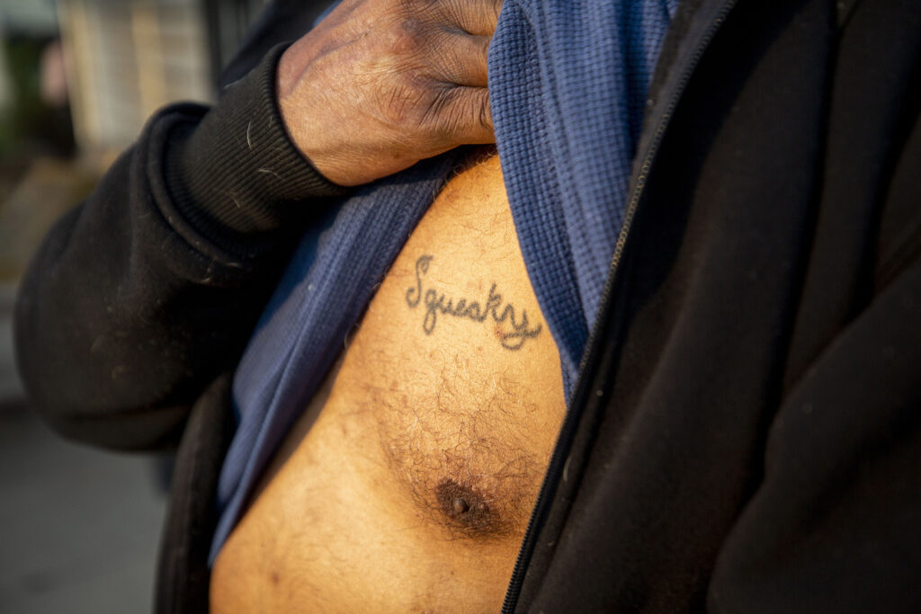 "Roderick ""Squeaky"" Richardson has his monicker tattooed on his chest. Sept. 11, 2020."