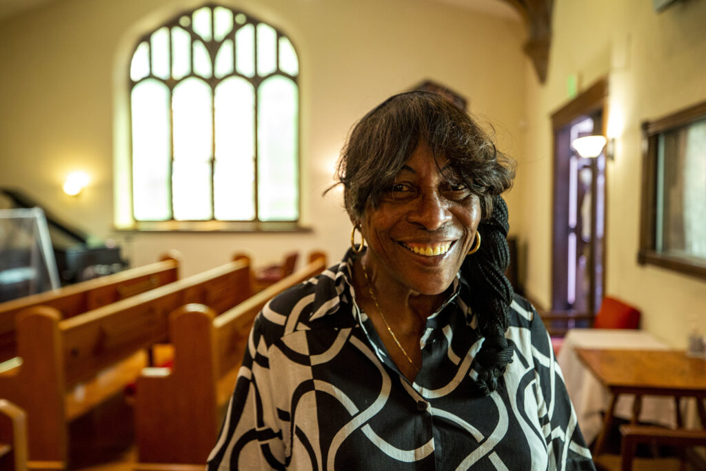 Rose Milon, director of the Epworth United Methodist Church's food pantry, at Sunday services on. Sept. 6, 2020.