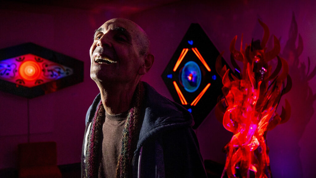 Barry Raphael stands inside Lumonics Light and Sound Gallery in Denver's northern reaches. Dec. 1, 2020.