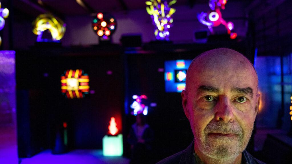 Marc Billard stands inside Lumonics Light and Sound Gallery in Denver's northern reaches. Dec. 1, 2020.