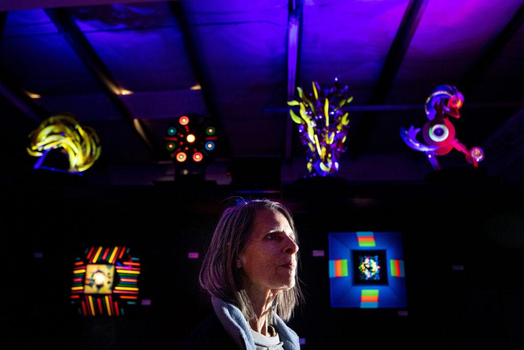 Barbara Billard stands inside Lumonics Light and Sound Gallery in Denver's northern reaches. Dec. 1, 2020.