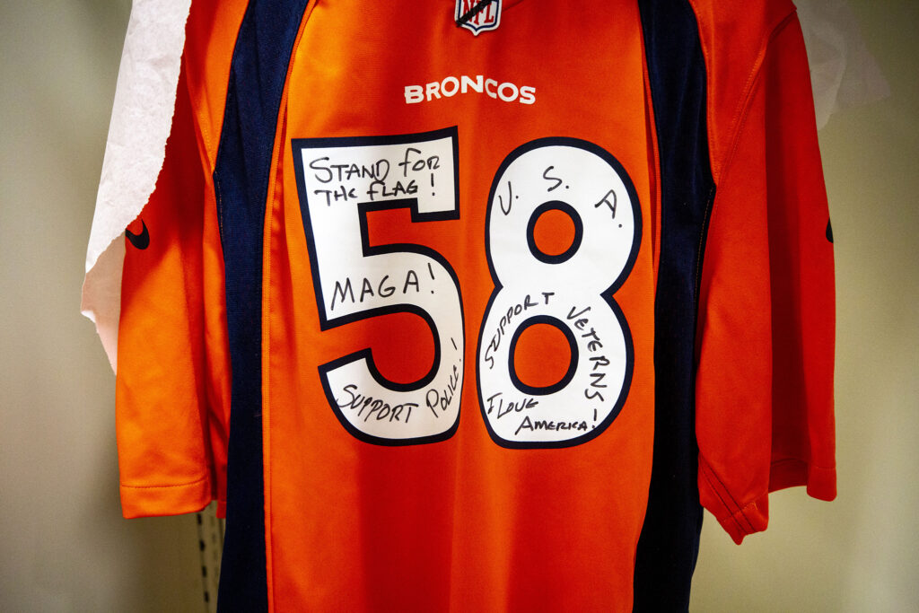 This Von Miller jersey was sent to Denver Post sports columnist Mark Kiszla after he wrote about Miller kneeling during the National Anthem in 2017. It's now in History Colorado's archive. Dec. 3, 2020.