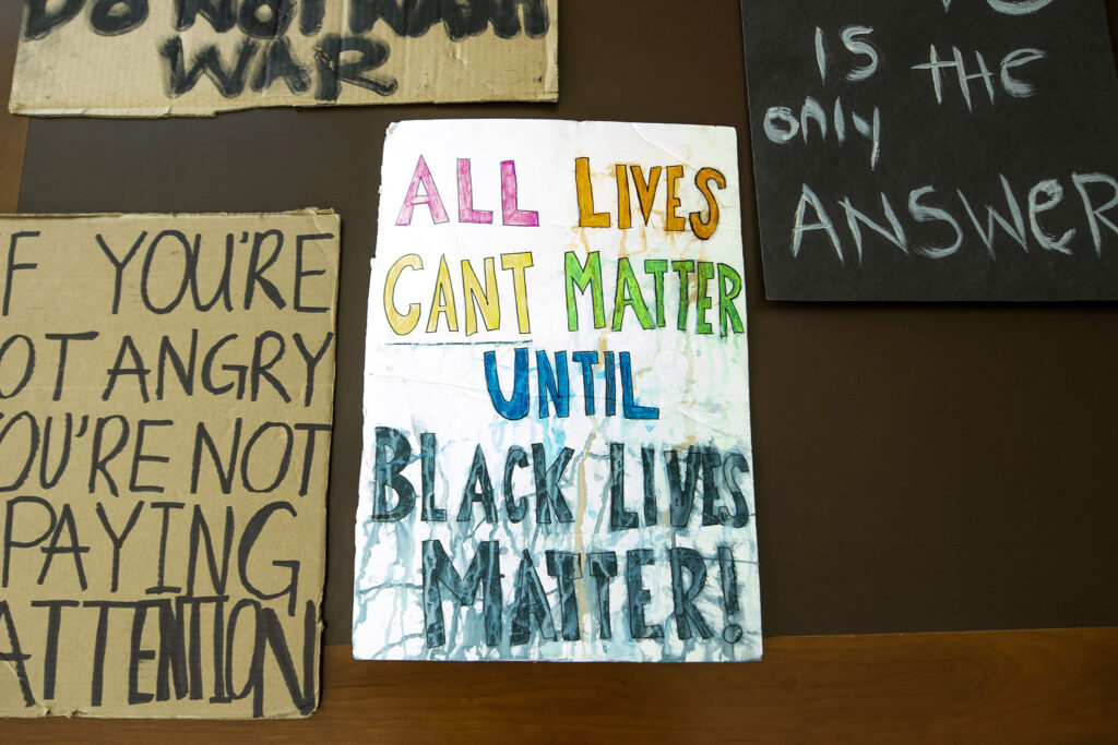 Protest signs used during the movement against racism and police brutality this summer are now in History Colorado's archive. Dec. 3, 2020.