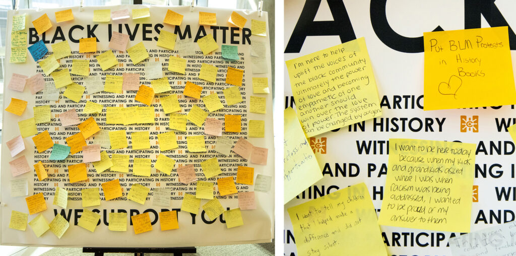 A board filled with sticky notes collected by History Colorado during a summer of protests against racial injustice and police violence. Dec. 3, 2020.