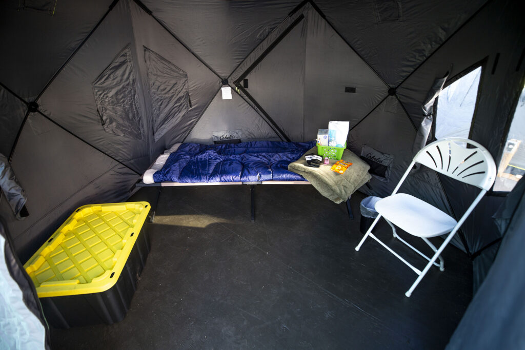 Inside one of the tents at Denver's first safe outdoor camping site, located next to First Baptist Church in Capitol Hill. Dec. 4, 2020.