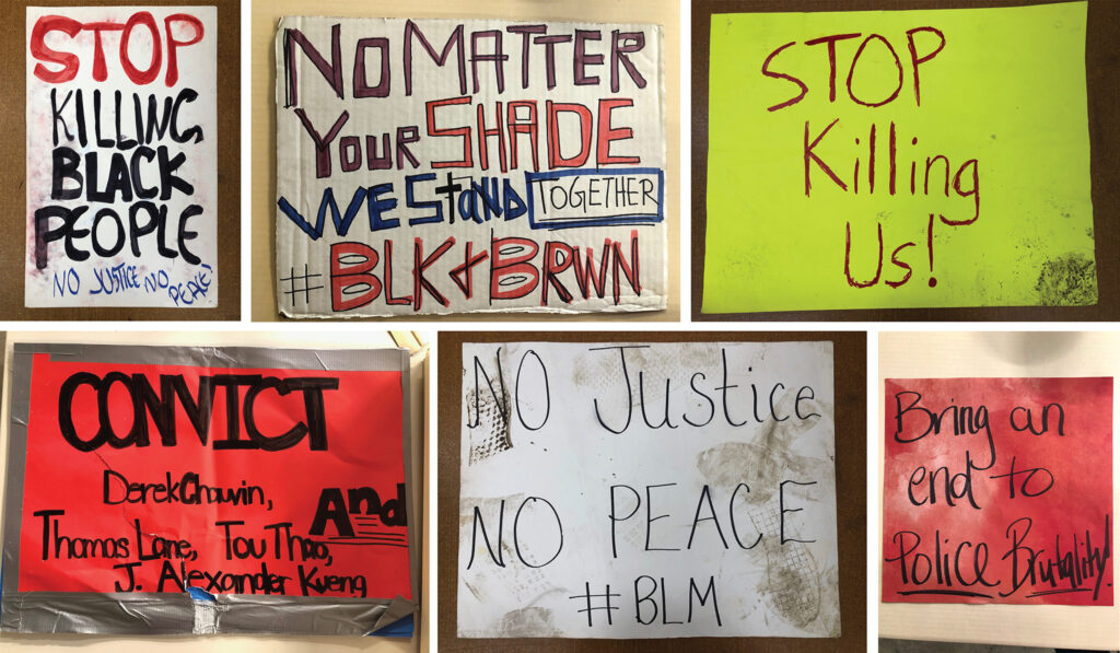 Signs collected by Denver Public Library staff during the summer of protests against racial injustice and police violence in Denver.