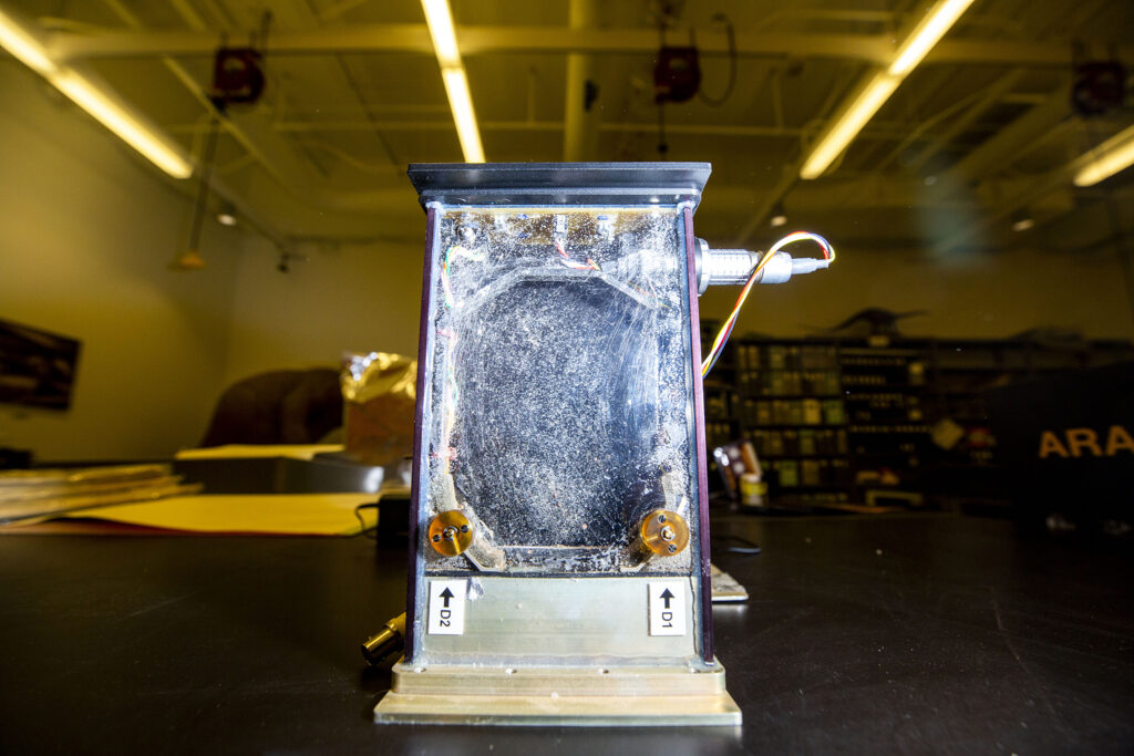 The habitat that Paula Cushing, arachnid expert with the Denver Museum of Nature and Science, helped design to test spiders in space. This one was used as a control in the experiment, which means it remained on Earth. Dec. 11, 2020.