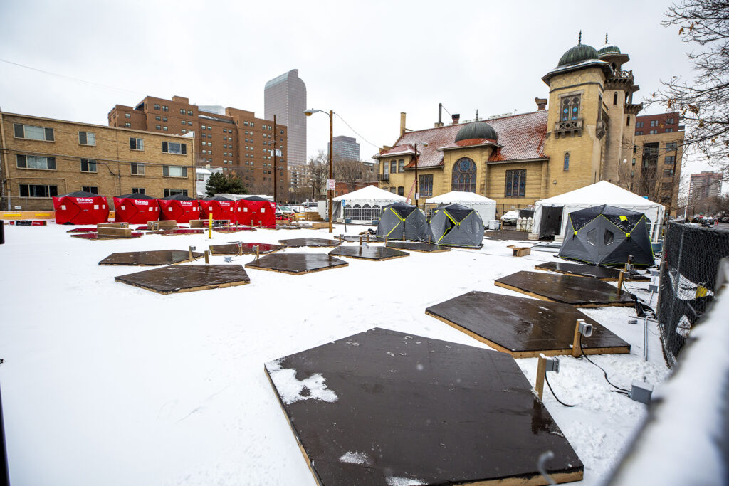 An incoming safe outdoor camping site at Denver Community Church in North Capitol Hill. Dec. 11, 2020.