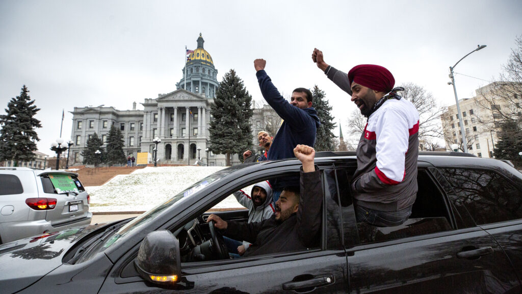 Denver's Indian-American community rallies by the Colorado State Capitol in solidarity with massive protests in India. Dec. 12, 2020.