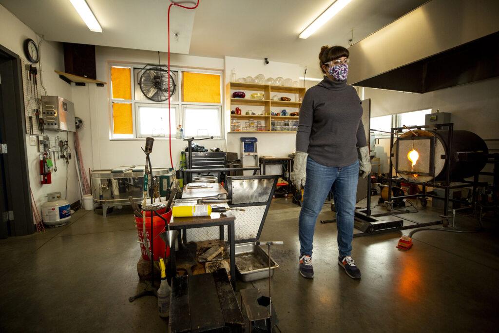 Cortney Boyd at work inside her Flux Studio workshop at Bruce Randolph Avenue and Elizbeth Street. Dec. 14, 2020.