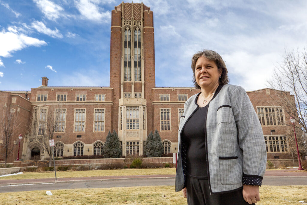 Corinne Lengsfeld, the University of Denver's senior vice provost for research and graduate education, on campus. Dec. 23, 2020.