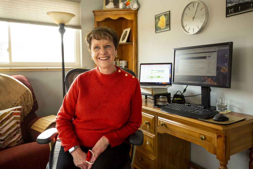 Lee Ann Colacioppo, editor-in-chief of the Denver Post, in her home office. Dec. 29, 2020.