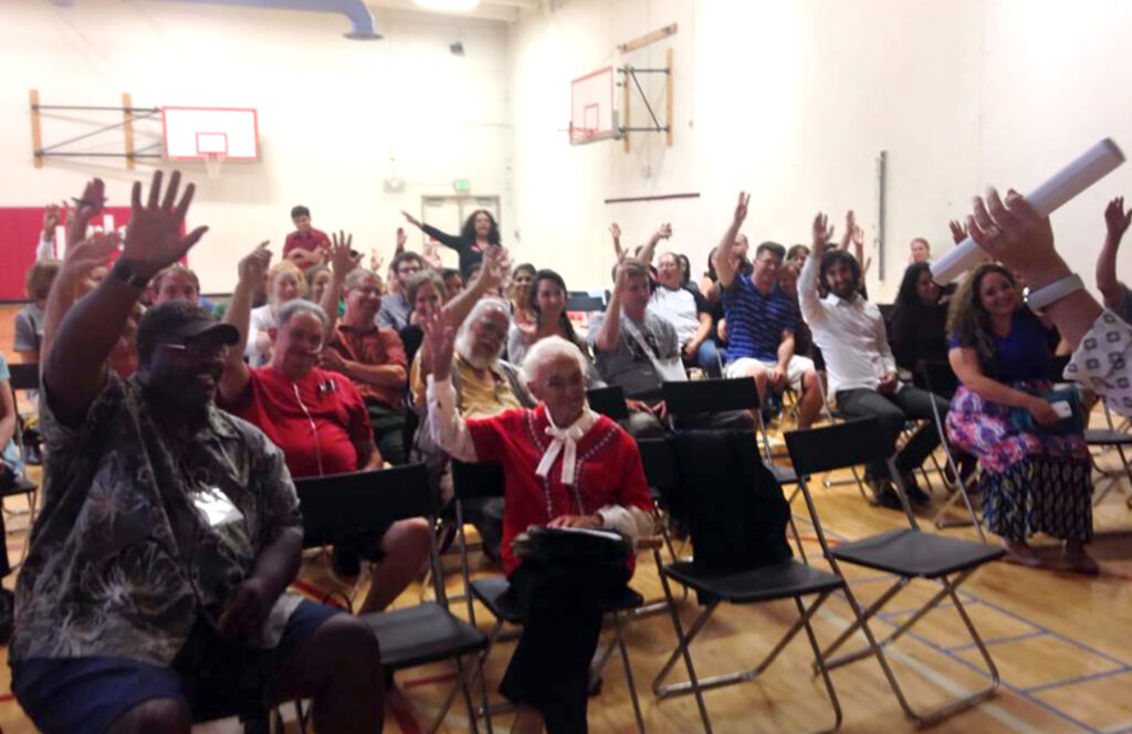 West side neighbors vote in favor of spending Parks and Recreation dollars at Paco Sanchez Park, July 30, 2014. Nettie Moore is front and center.