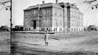 """Posted by Williamson on Nov. 1, 2019: """"Gilpin School [was] named for Colorado's Territorial Governor before it become a state. [It was] built in 1881 on 29th Street at Stout by legendary school architect Robert Roeschlaub. ... Wings added in 1892, 1897 and 1921. Old Gilpin was torn down in 1951. The newer building still resides on the 30th Street side."""""""