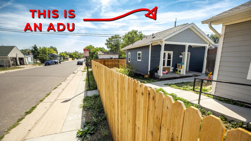 An ADU, a sidewalk in Westwood and a crudely-drawn graphic. Aug. 18, 2020.