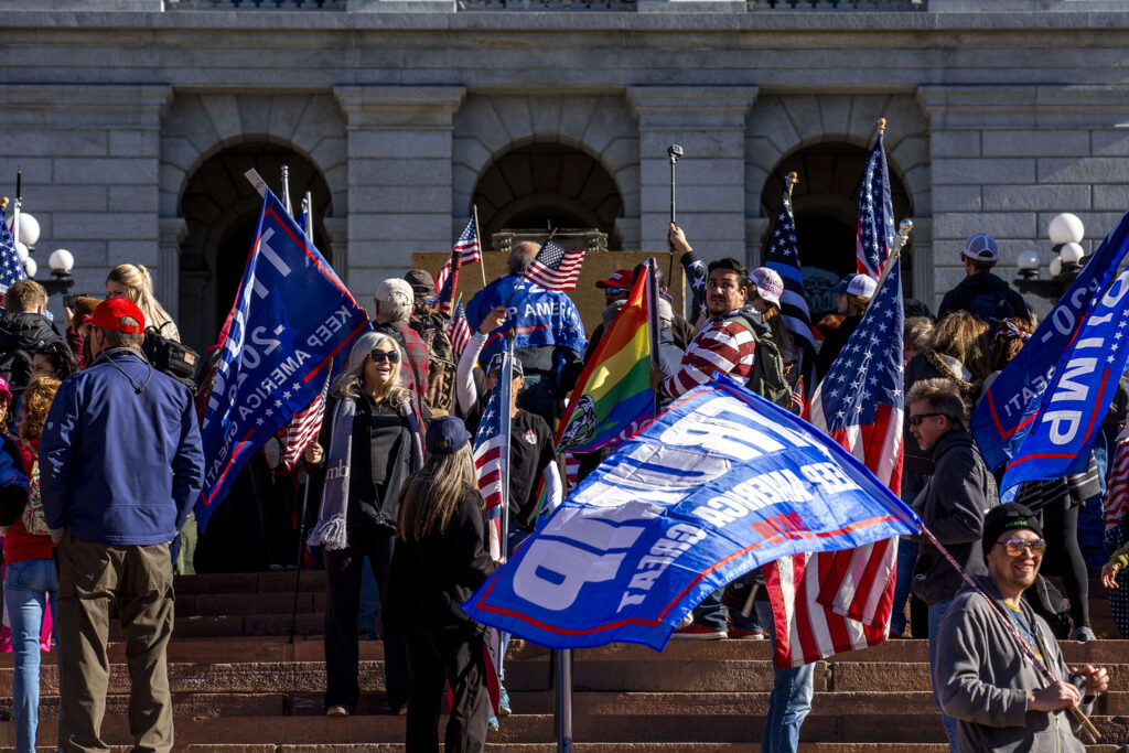 A rally in support of President Donald Trump in front of the Colorado State Capitol. Jan 6, 2021.