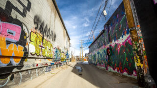 Some of the many painted walls in Five Points' RiNo Art District. Jan. 12, 2021.