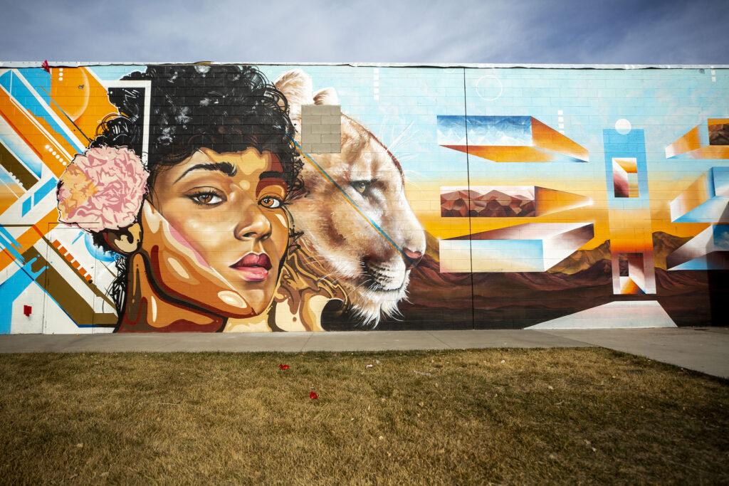 A CRUSH mural by Robin Munro and Michael Ortiz at the RiNo Art Park off Brighton Boulevard. Jan. 12, 2021.