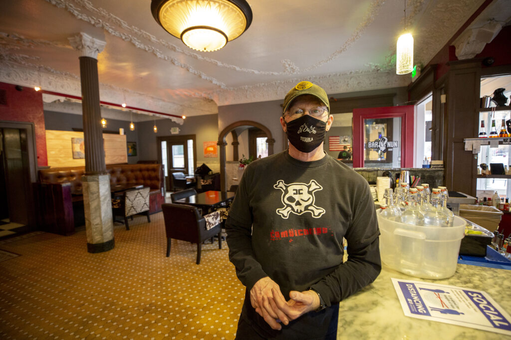 Butch Buckley opened Bar Nun in the old Capitol Hill Tavern space on Logan Street less than two months ago. Jan. 13, 2021.