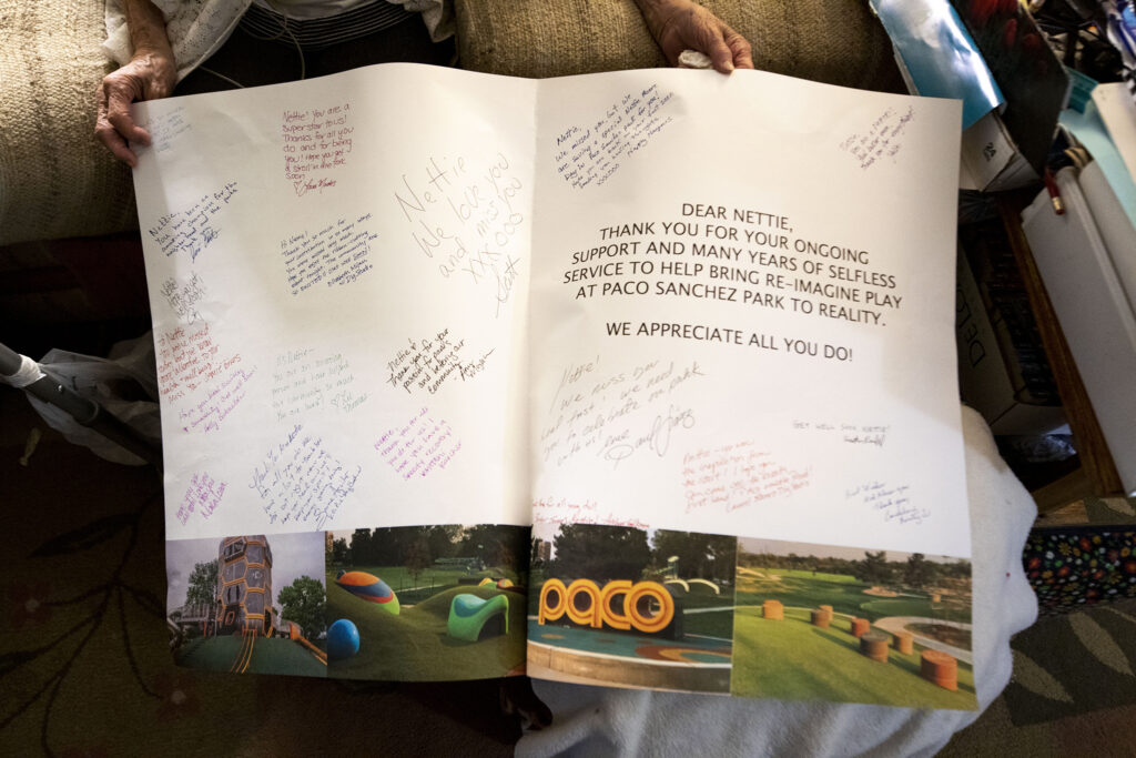 Denver Parks and Recreation Deputy Director Scott Gilmore brought Nettie Moore this enormous card on Jan. 22, 2021.