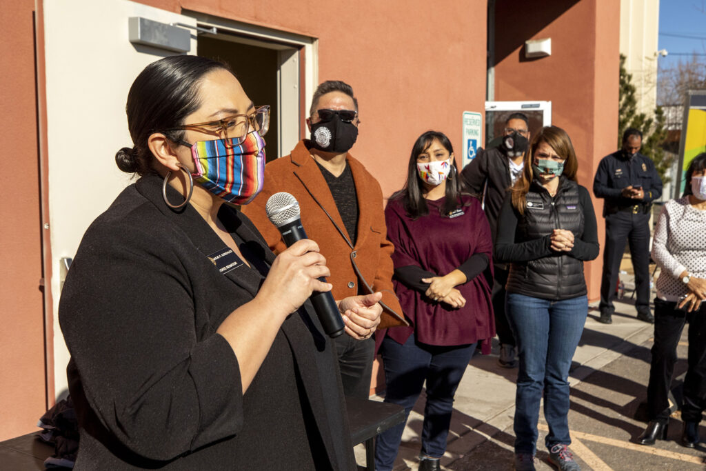 State Sen. Julie Gonzales speaks at a drive-through COVID-19 vaccine clinic she helped set up at Servicios De La Raza in Denver's West Colfax neighborhood. Jan. 30, 2021.