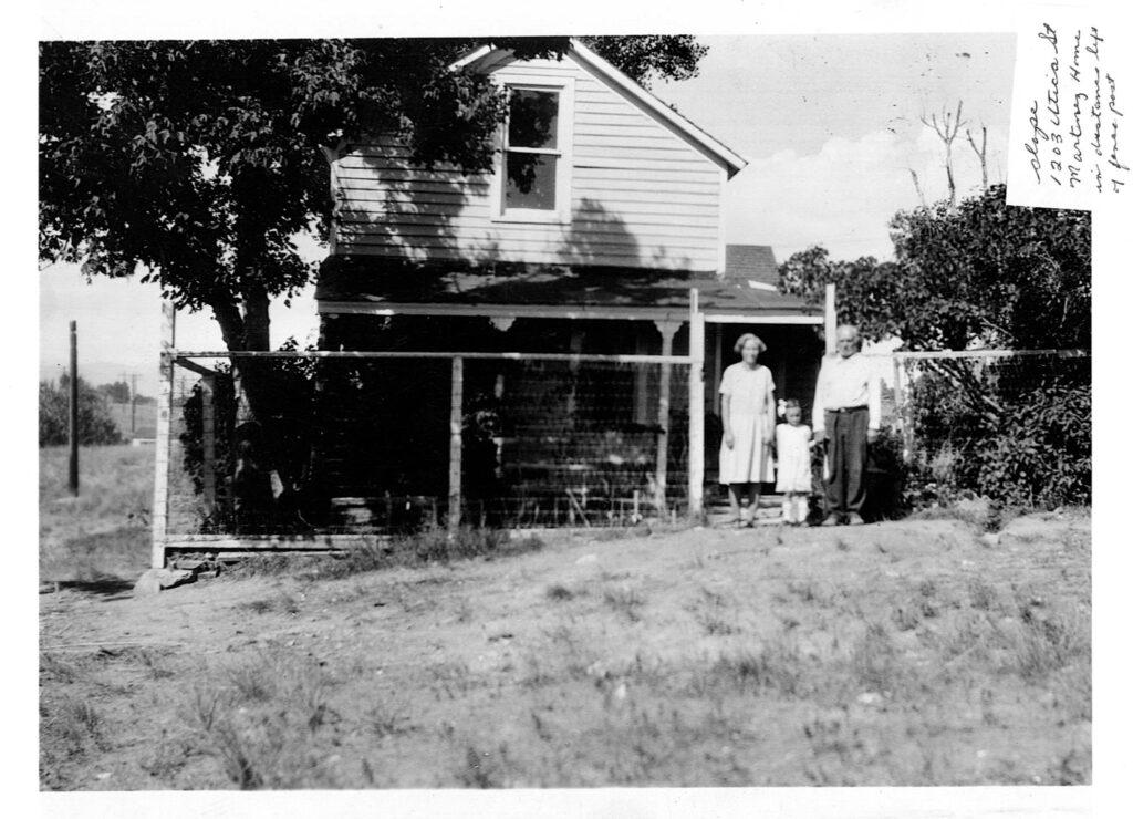 Historische Fotografie von Nettie Moores Haus, circa 1930.