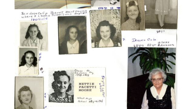 Various photographs of Nettie Moore, 1939-1992.