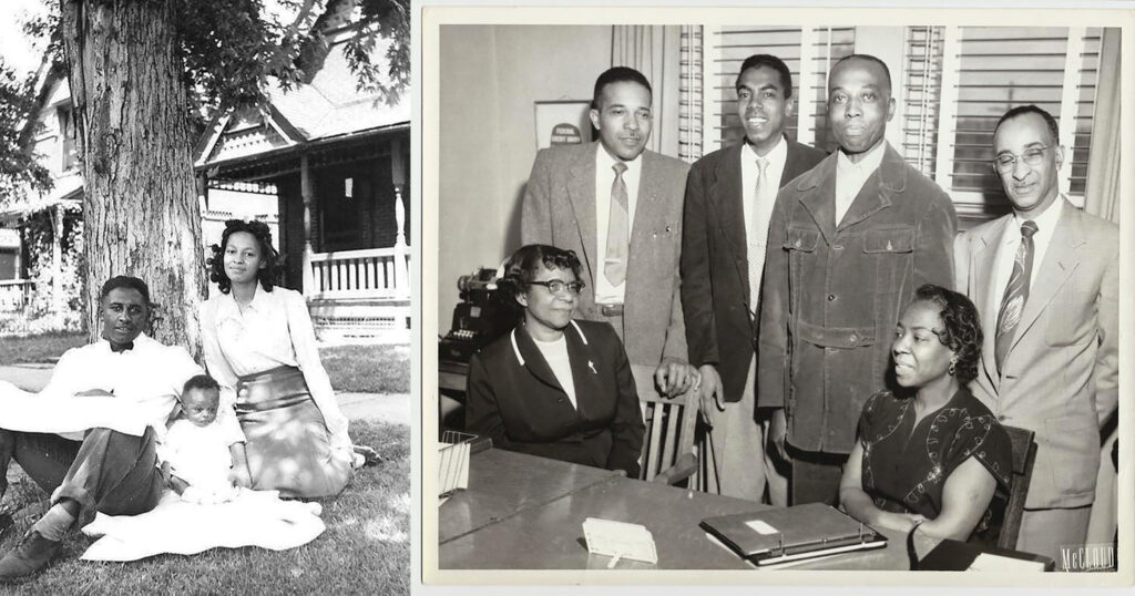 "Photos posted by Orville Springs (left) and Harold Abrams. That's Springs as a baby and Abrams' grandmother (far left) at work at the  American Woodman No. 1 Federal Credit Union, where ""one of their duties was offering life insurance to the 'un-insurable' Black Community."""