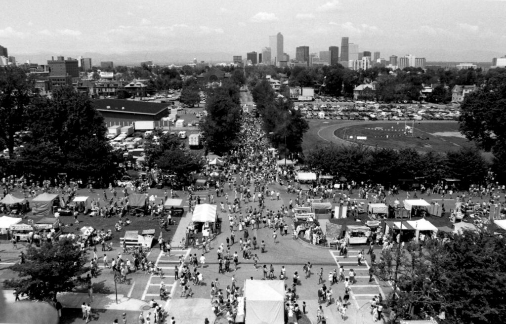 "Posted by Williamson on Dec. 22, 2020: ""People's Fair, 1972-2019. The East-High era was from 1976 to 1986. Although that location had reached its 200,000-people peak it still had that local quirky Cap Hill bohemian flavor with reasonably priced food and art and crafts items from the surrounding neighborhood. It's original intention was to help fund non-profit organizations in the area from proceeds of vendor fees."""