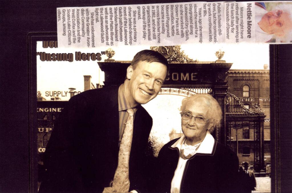 Collage von Denver 150 Ereignis, einschließlich Bild von Nettie Moore mit Bürgermeister John Hickenlooper, 22. November 1998.