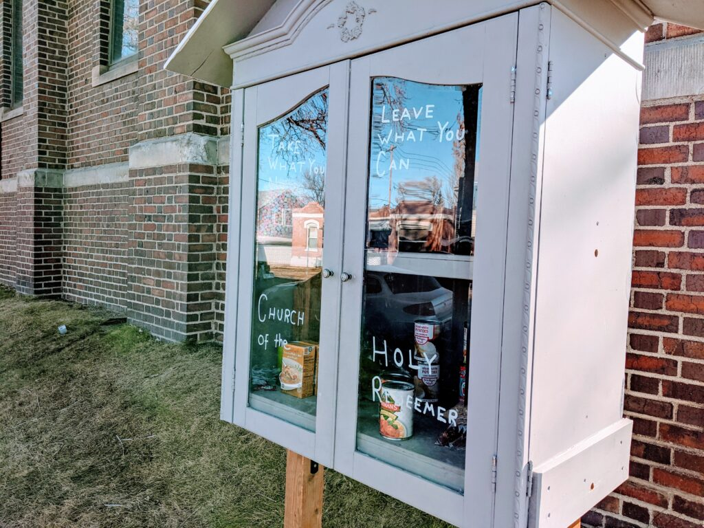 A pantry outside the Church of the Holy Redeemer at  2552  Williams Street in the Whittier neighborhood on Jan. 4. 2021. (Donna Bryson/Denverite)