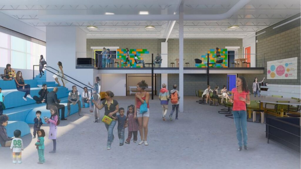 A rendering provided by the Denver Public Library of a new branch under construction in the RiNo Art District in Five Points.