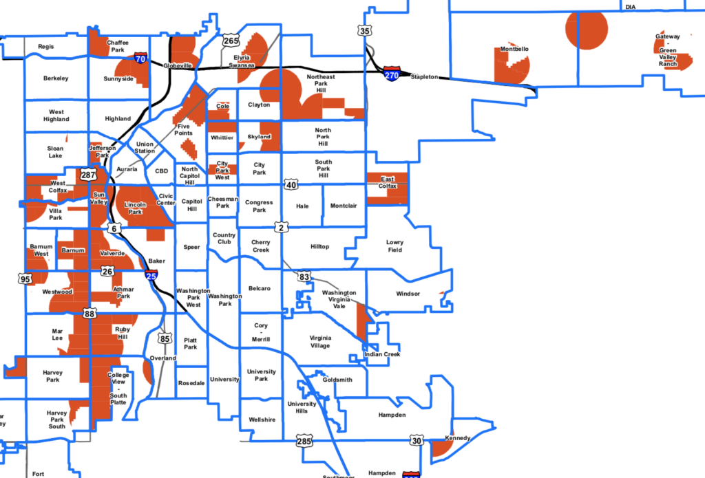 """At least 30 percent of vehicles will be available for people in the """"opportunity areas"""" shown in red. Though this is not a complete map of Denver, it encompasses all opportunity areas. (Department of Transportation and Infrastructure)"""