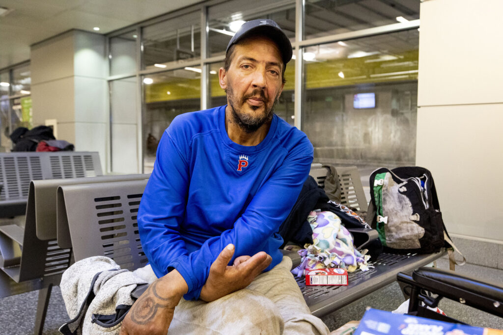Timothy Renault was asked to leave Union Station's bus terminal after a security guard found him sleeping there on a bench. Feb. 3, 2020.