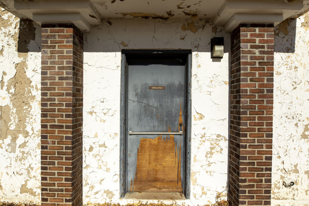 A shuttered building on the Loretto Heights campus in Harvey Park South, Feb. 4, 2021.