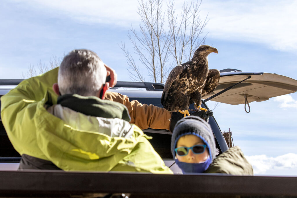 Eric Cameron, 8, listens as Devin Jaffee talks about this juvenile bald eagle during Barr Lake State Park's 9th annual eagle festival. Feb. 6, 2021.